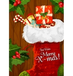 Christmas sock with gift on wooden background vector image