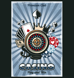 colored vintage gambling poster vector image vector image