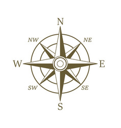compass icon in sepia color wind rose vector image