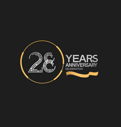 28 years anniversary logotype style with silver vector