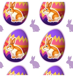 A seamless design with bunnies inside the eggs vector image