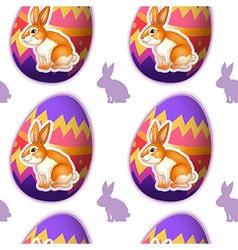 A seamless design with bunnies inside the eggs vector