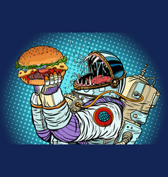 Astronaut monster eats burger greed and hunger of vector
