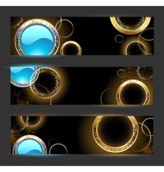 Banner with golden rings vector