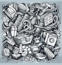 bathroom funny hand drawn doodles vector image