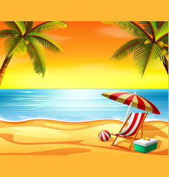 beautiful sunset view background in the beach vector image