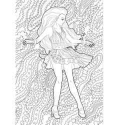 Beautifull dancing girl in a patterned dress vector