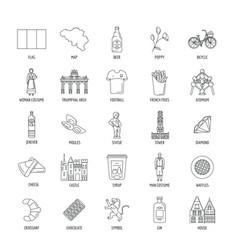 belgium icons set outline style vector image