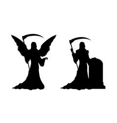 Black silhouette death with scythe vector