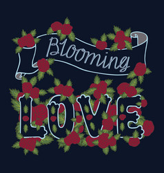 Blooming love colorful romantic vintage art blue vector