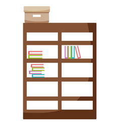 bookcase with books inside and box archive vector image