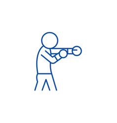 boxer line icon concept boxer flat symbol vector image