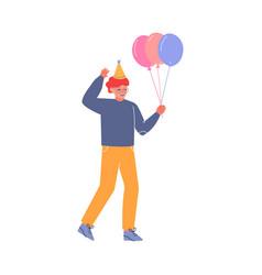 Boy having fun at birthday party boy in party hat vector