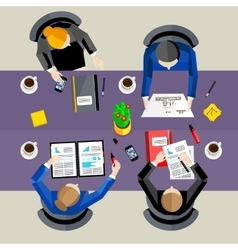 Business concept Top view workspace background vector