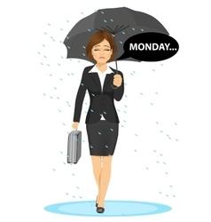 Businesswoman holding umbrella walking sad to work vector
