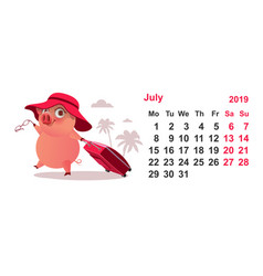 Calendar july 2019 pig gathered on vacation with vector