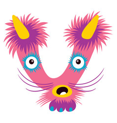 cartoon capital letter v from monster alphabet vector image