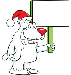 Cartoon Polar Bear Santa vector image
