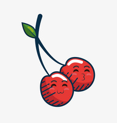 Cherry fresh fruit character handmade drawn vector