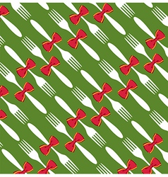 Christmas cutlery pattern background vector