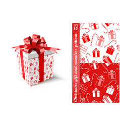 christmas gift and seamless pattern new year vector image