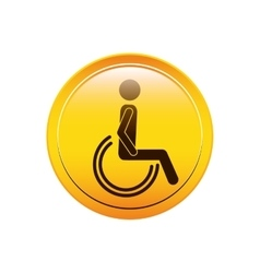 Circular button person sitting wheelchair icon vector