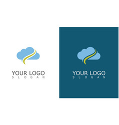 cloud swirl technology logo vector image