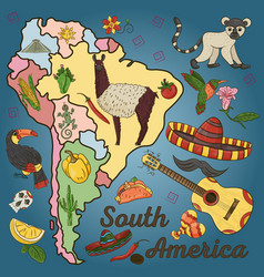 Color 3 drawing on the theme of south america vector