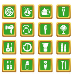 Cosmetics icons set green square vector