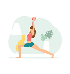 crescent lunge pose woman doing yoga with cat vector image