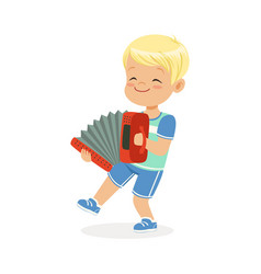 Cute little boy playing accordion young musician vector