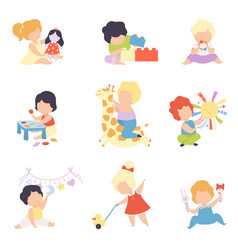 Cute little kids playing with toys set toddler vector