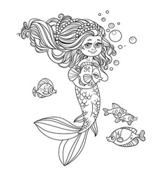 cute little mermaid girl holds a pet fish outlined vector image