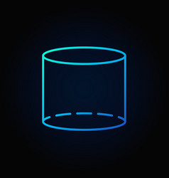 Cylinder blue outline icon vector