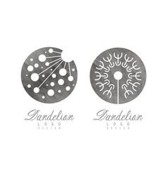 dandelion flower head logo design template vector image