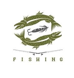 Design template vintage fishing emblem vector