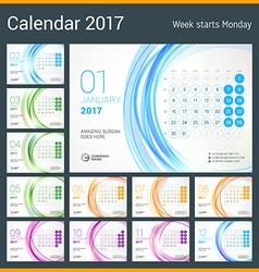 Desk Calendar for 2017 Year Set of 12 Months Week vector image