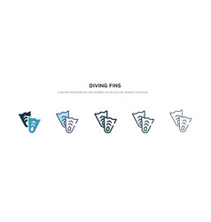 Diving fins icon in different style two colored vector