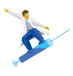 Doctor jumping on a syringe like on a snowboard vector
