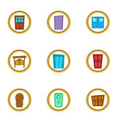 door icons set cartoon style vector image