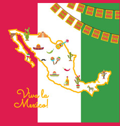 flat mexico attributes on map mexican flag vector image