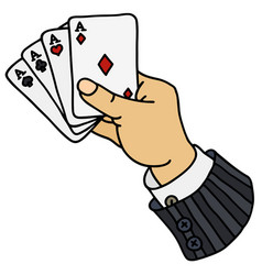 Four aces in hand vector
