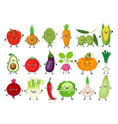funny cartoon set of different vegetables kawaii vector image