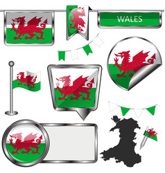 Glossy icons with flag wales vector