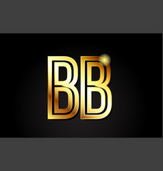 Gold alphabet letter bb b b logo combination icon vector