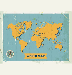 grunge retro metal sign with world map vintage vector image