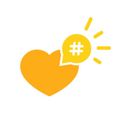 hashtag icon like heart - smm promotion and share vector image