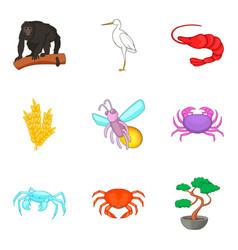 Healthy world icons set cartoon style vector