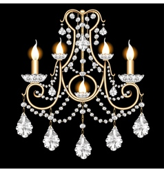 Included sconces with crystal pendants vector