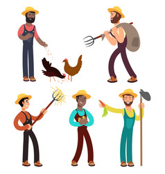 international farmers team cartoon vector image
